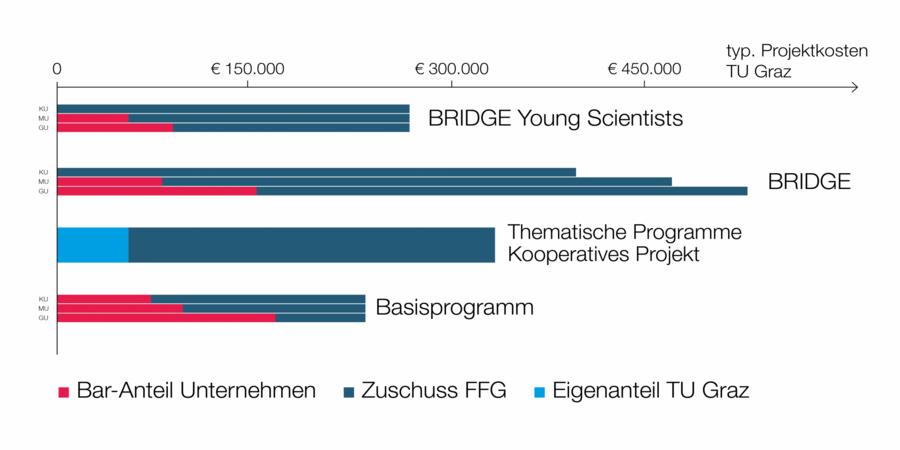 Förderprogramme mit typischen Projektkosten und Fördersummen.