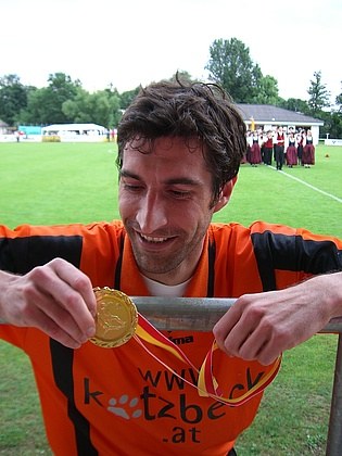 An exhausted but pleased Thomas Leitgeb after winning the regional Soccer Championship for USV Sattler Rudersdorf for the first time since 1984.