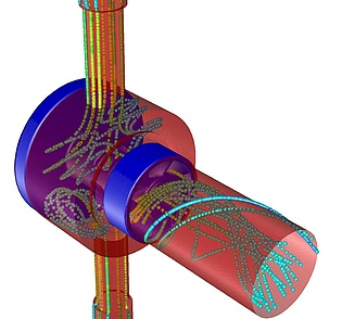 Simulation with fluent of the air flow going from the suply module through the LLP-type injector towards the combustor. Picture courtesy of Wolfgang Lang.