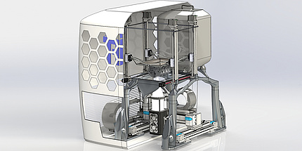 Innenleben eines 3D-Druckers, grafische Darstellung