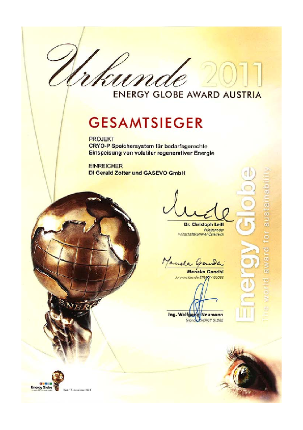 "Gerald Zotter received the Energy Globe Award Austria for his Diploma Thesis on ""Cryo-P System for Volatile Regenerative Energy Storage"" together with Werner Hermeling from GASEVO GmbH (Thesis Supervisor: Wolfgang SANZ)"