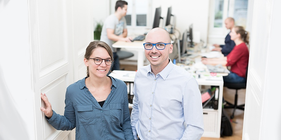 Karin Pichler and Christian Haintz in their office.
