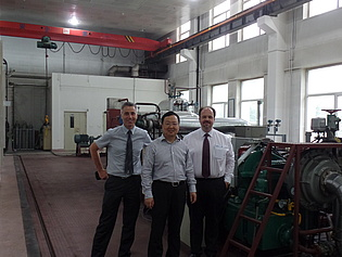Prof. Göttlich and Prof. Sanz with Prof. Qun Zheng during their visit of Harbin Engineering University in Harbin, China