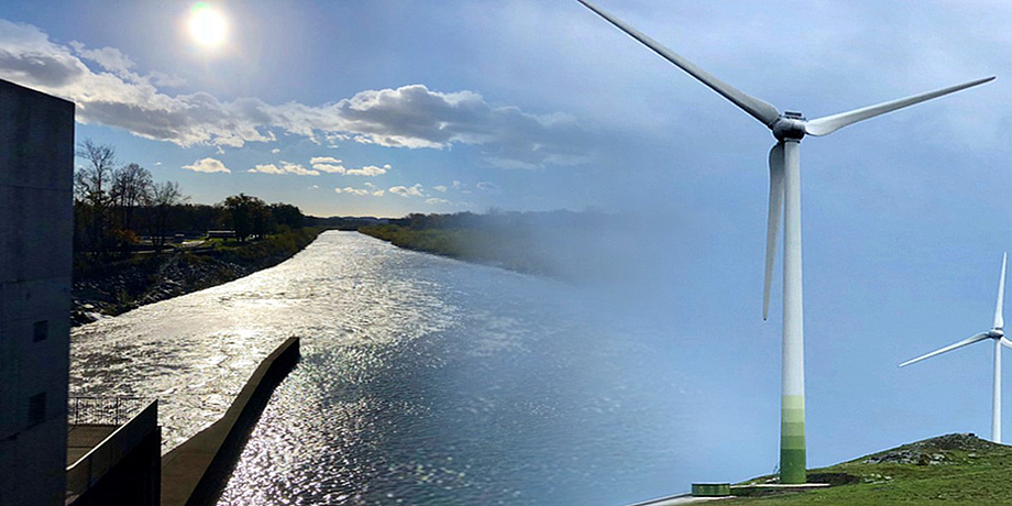 Wasserkraftwerk und Windrad
