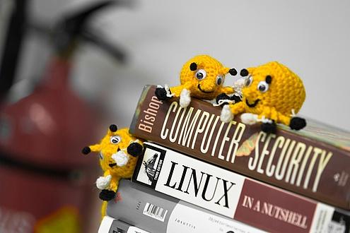 Gelbes Stoff-Maskottchen auf Fachbüchern zu IT-Sicherheit