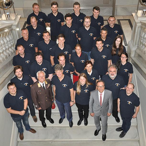 Gruppenfoto der Kameradinnen und Kameraden der Freiwilligen Feuerwehr der TU Graz