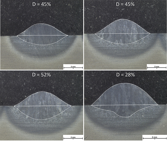 Four pictures on top of each other. Al of them are split into a black top half and a light grey bottom half. There is half a bubble of darker grey reaching into to bottom half in each picture. And an even darker grey elliptical structure reaching into the bottom and top part of the picture. In the first one, the elliptical structure is spread even on the top and the bottom half. In the fourth picture, the elliptical structure is mostly in the bottom half. The first picture says D = 45%, the second one D = 45%, the third one D = 52% and the fourth one D = 28%.