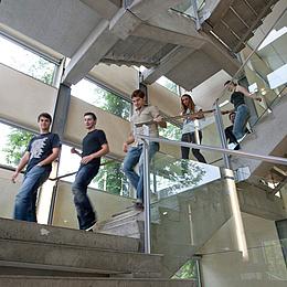 Mehrere Menschen gehen eine Stiege hinunter. Bildquelle: Lunghammer – TU Graz