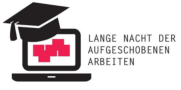 Grafische Darstellung eines Notebooks mit TU Graz-Logo auf dem Bildschirm. Darüber ein Doktorhut.