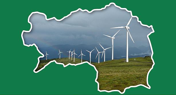 Fotomontage von Windkraftwerken auf der Koralpe überlagert durch den Umriss der Steiermark.