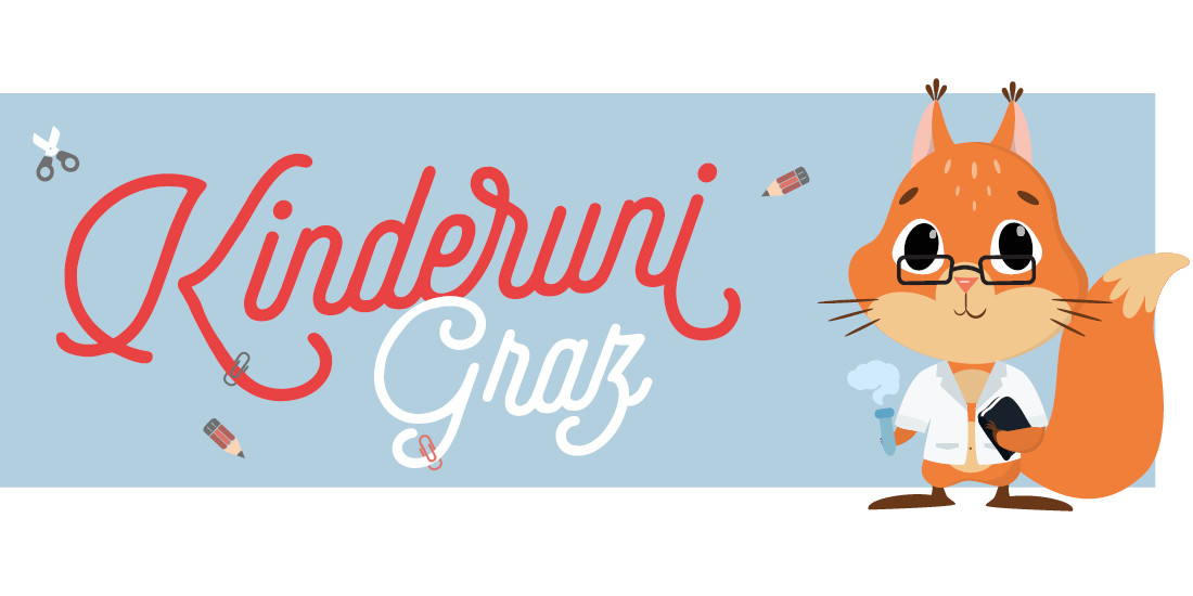 A squirrel wearing glasses, a lab coat and a test tube. Besides the text: Kinderuni Graz.