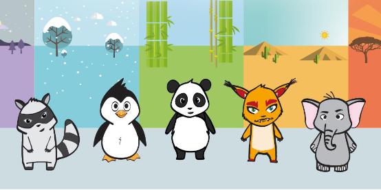 5 Tiere vor buntem Hintergrund.
