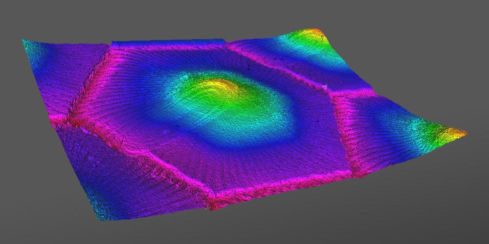 Alicona-Aufnahme einer Elektronenstrahl-strukturierten Oberfläche.