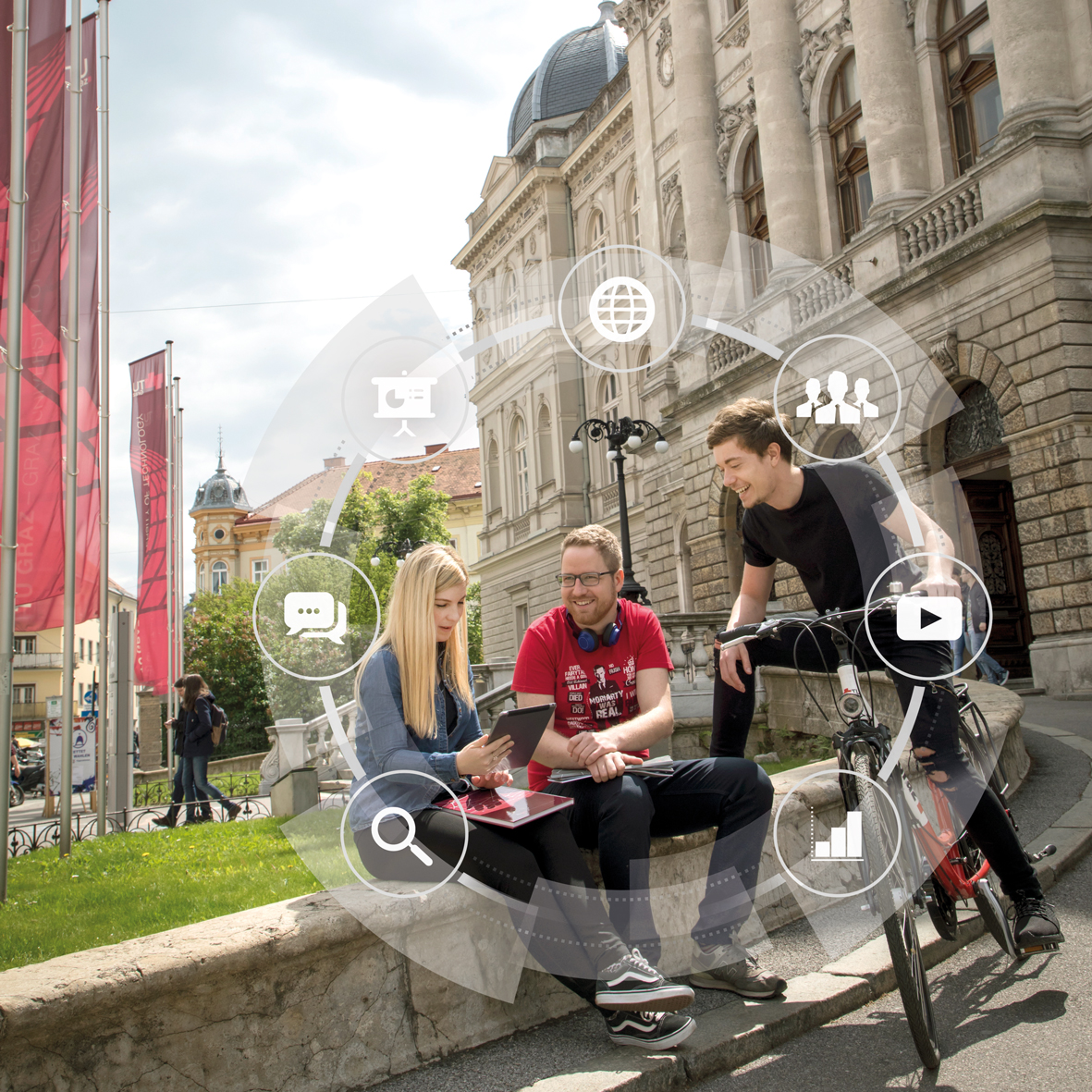A young woman and a young man sit on a small wall in front of a large university building. A young man on a bicycle bends over to them. The woman is holding a tablet in her hand. Around the three people, various symbols are arranged in a circle, including a play button, a magnifying glass and speech bubbles.