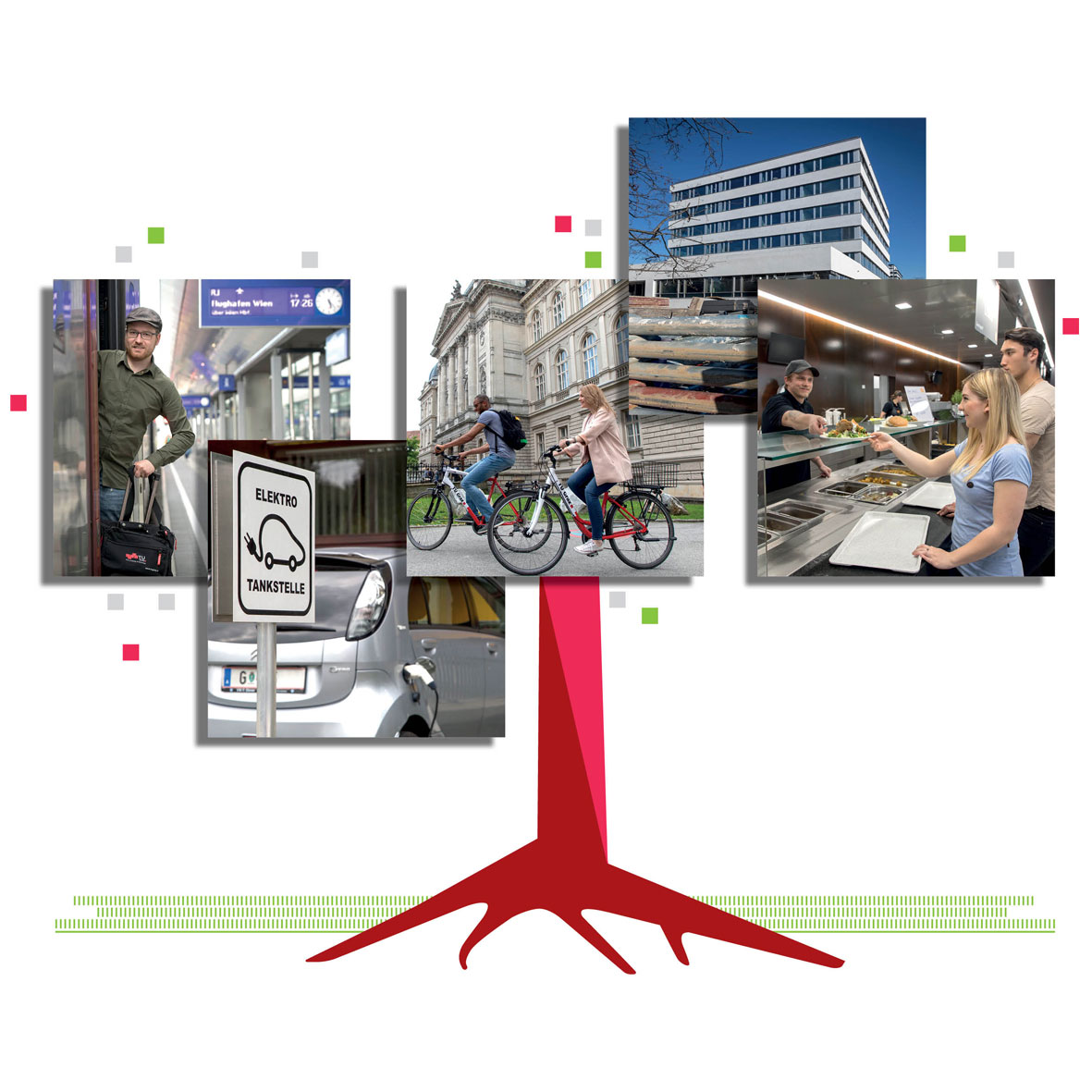 A red tree trunk illustration. Five photos are depicted as the treetop, forming the TU Graz logo. One picture shows a man on a train, the second an electric car, the third shows two people on bicycles, the fourth shows a building and the fifth a canteen.
