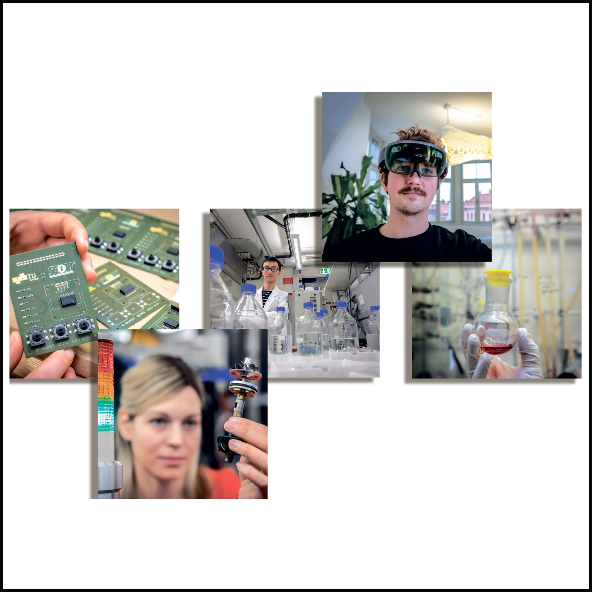 Five small square pictures show different research situations: an electronic circuit board, a woman holds up a metallic object, in front of a man are numerous transparent vessels, a man wears unusual glasses, a hand in a protective glove holds up a transparent vessel containing a red liquid.