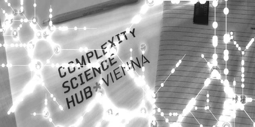 Banner des Complexity Science Hub Vienna mit grafischen Elementen.