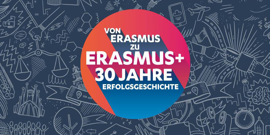 Orange, pink and blue Erasmus anniversary logo with white lettering against a grey background with white graffiti.