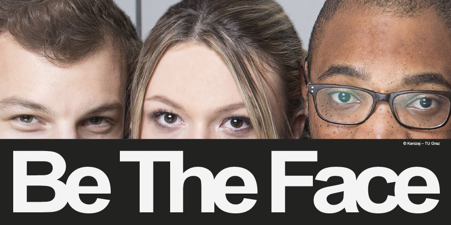 """3 faces and the text """"Be The Face"""""""