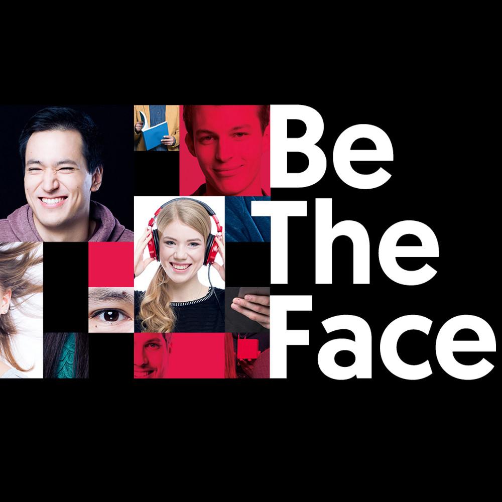 Collage aus Gesichern und Händen von Studierenden in schwarzen und roten Boxen. Daneben steht in weißer Schrift Be The Face. Bildquelle: Marija Kanizaj – TU Graz