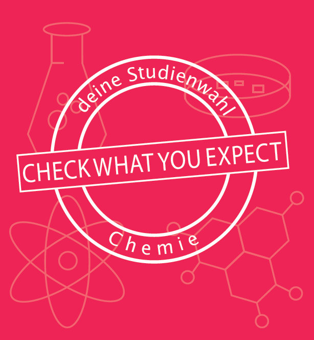 Text im Bild: Check what you expect. Deine Studienwahl Chemie