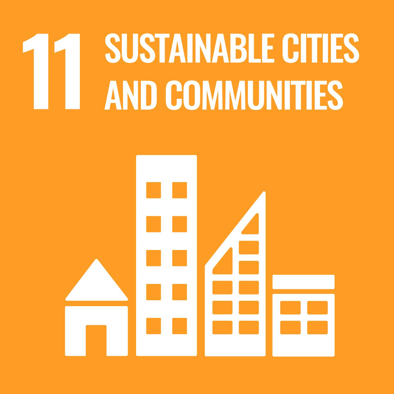 Icon mit Häusern. Darüber steht: Sustainable Cities and Communities.