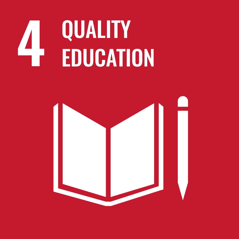Icon mit Buch und Stift, darüber steht Quality Education.