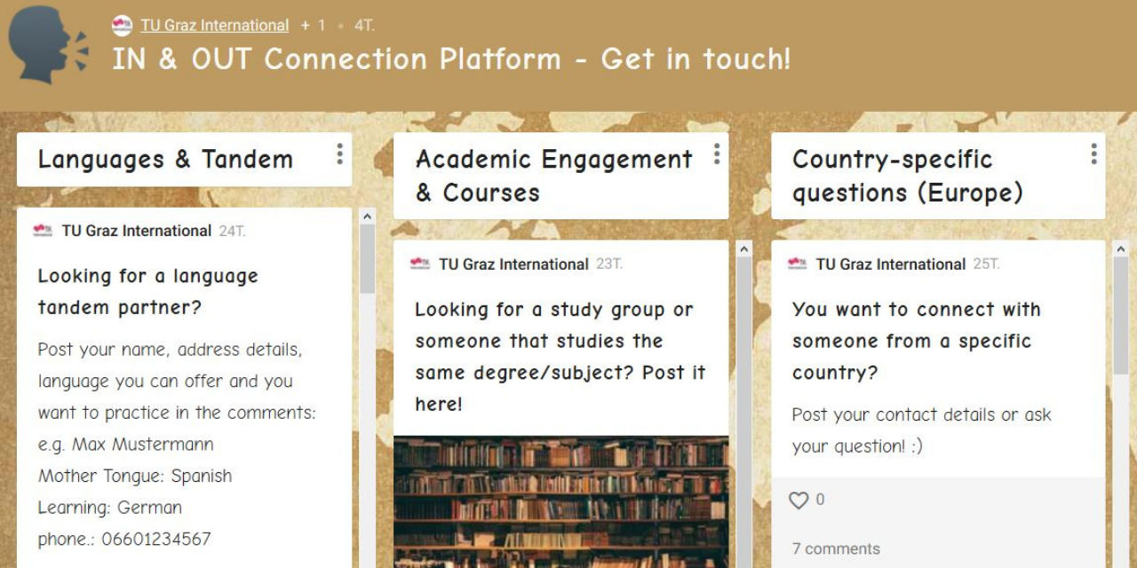 Padlet, Connection, Platform, Incoming, Outgoing, mobility, contact, tandem, questions