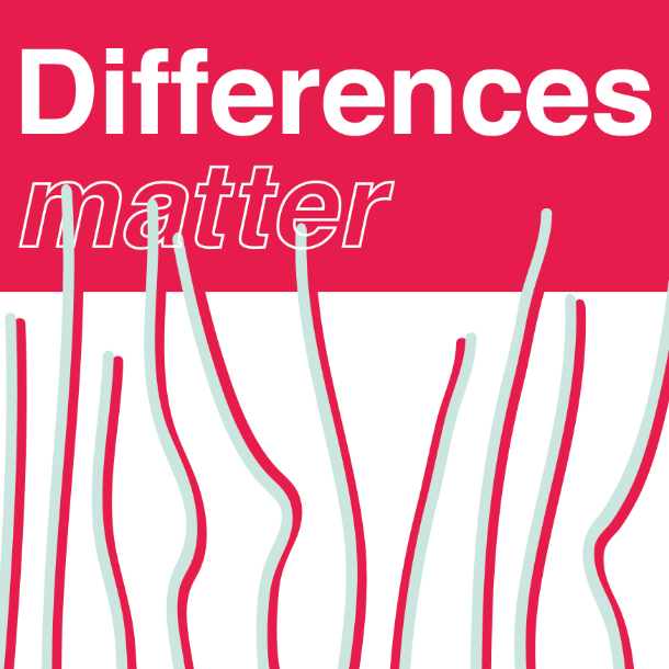 Text on white and red background: Differences matter.