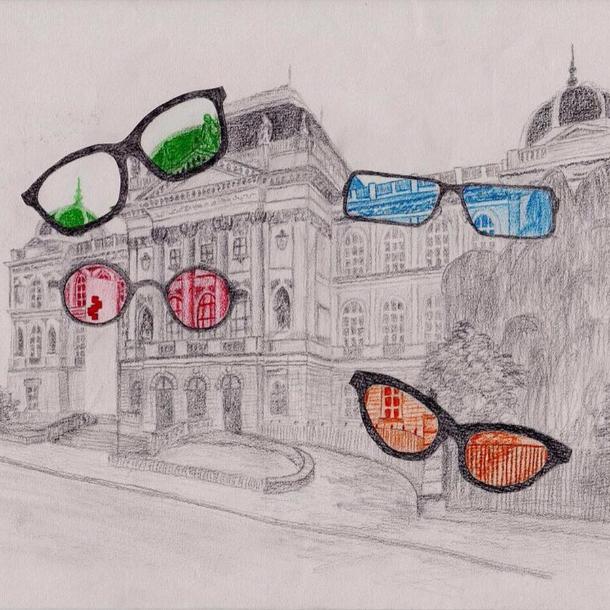 Zeichnung der Alten Technik, davor Brillen mit bunten Gläsern