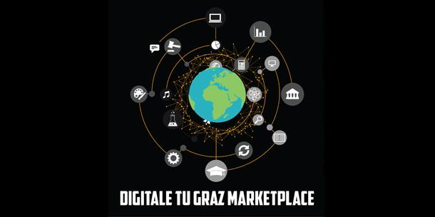 """Rund um eine Weltkugel sind verschiedene Symbole angeordnet, darunter zum Beispiel ein Taschenrechner und eine Lupe. Unter der Grafik steht der Schriftzug """"Digitale TU Graz Marketplace""""."""