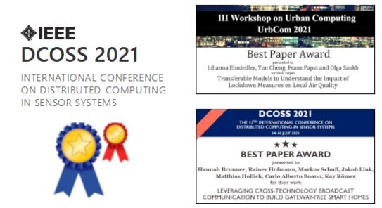Zwei Auszeichnungen bei der IEEE DCOSS'21 Konferenz