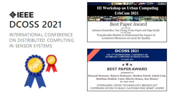 Two best paper awards at IEEE DCOSS'21