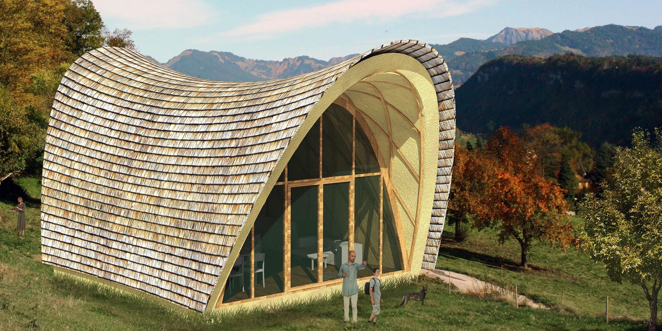 Architekturstudierende Der TU Graz Entwickeln Als Masterprojekt Die  Gebäudeinnovation U201eStrohboidu201c. Die Holzgitterkonstruktion Mit Strohballen,  ...