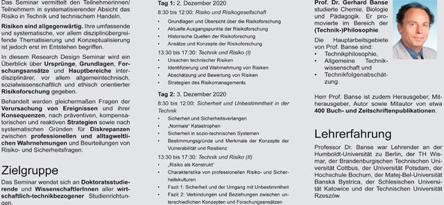 Ausblick: Research Seminare 2020/2021